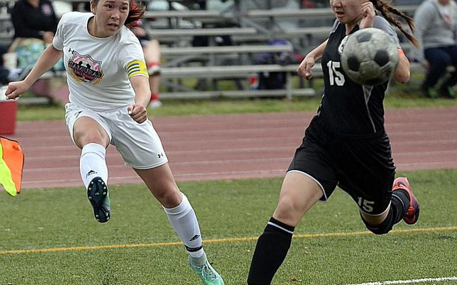 Senior Bobbi Hill, left, of Matthew C. Perry leads the Pacific in girls soccer goals with 31.