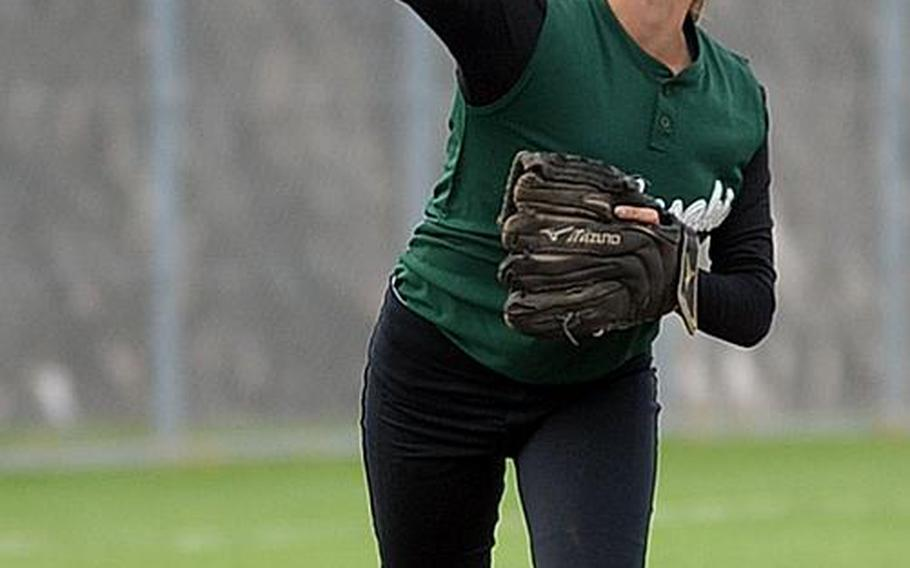 Leah Bebout is one of two senior pitchers with four years on the roster of a Kubasaki team that won twice during the regular season against three-time defending Far East Division I Tournament champion Kadena, but has never won a Far East tournament itself.