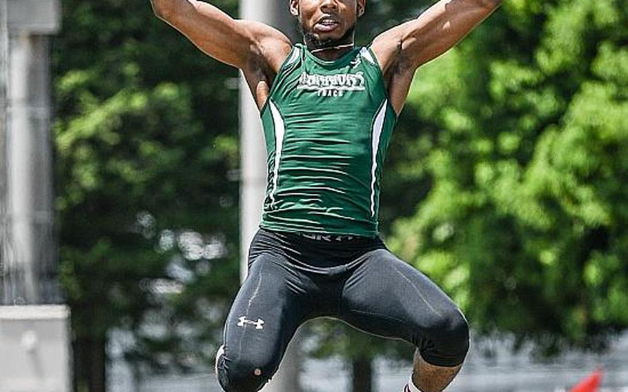 Daegu senior Jarvis Stokes won the Far East meet boys long jump with a leap of 6.44 meters.  JACK HIGBEE/SPECIAL TO STRIPES