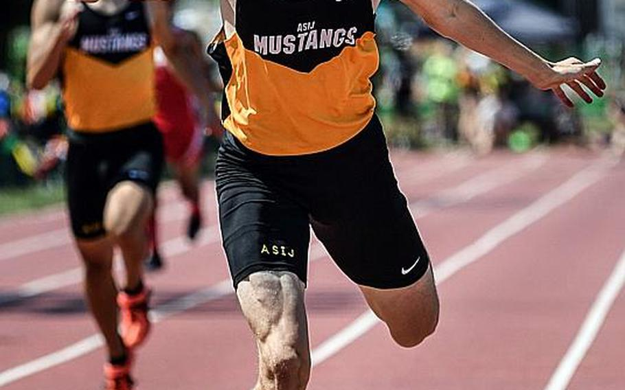 Despite a blister in his left foot, American School In Japan senior Britt Sease broke his own meet record in the 400 with a time of 48.16. He exits also holding the Pacific records in the 400 and 800.  JACK HIGBEE/SPECIAL TO STRIPES