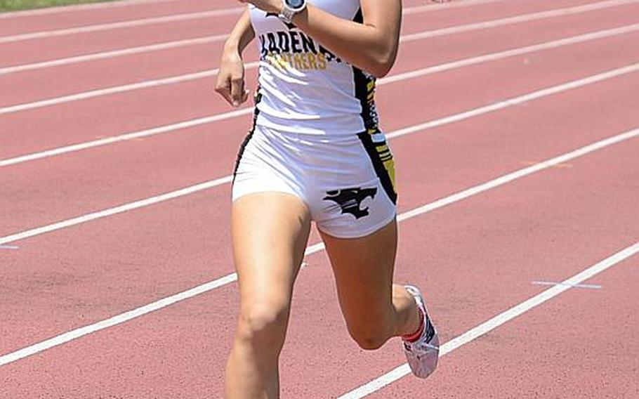 Kadena senior Wren Renquist hits the finsh in the 800 meters in the Far East track and field meet in 2 minutes, 23.44 seconds, her third race victory, which gave her Division I Athlete of the Meet honors.  DAVE ORNAUER/STARS AND STRIPES