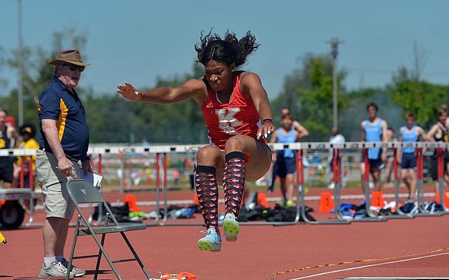 Jada Branch of Kaiserlautern won the girls long jump at the DODEA-Europe track and field championships in Kaiserslautern, Germany, with a leap of 17-06 1/2.