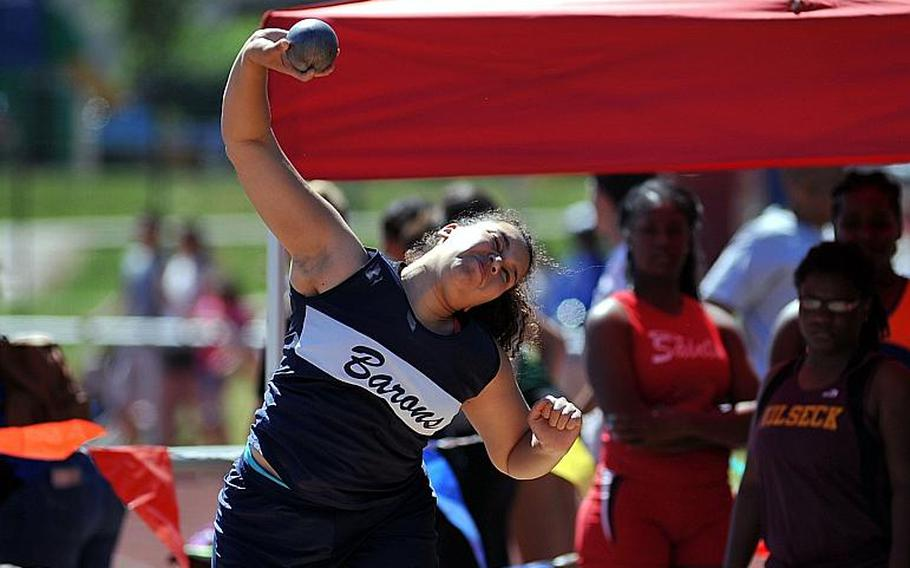 Bitburg's Elise Rasmussen won the girls shot put event at the DODEA-Europe track and field championships in Kaiserslautern, Germany, with a toss of 33-09 1/4.