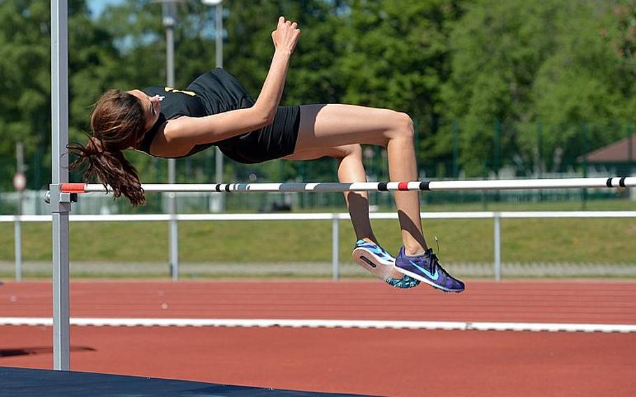 Stuttgart's Annika Rivera won the girls high jump competition at the DODEA-Europe track and field championships in Kaiserslautern, Germany, crossing the bar at 5-02.