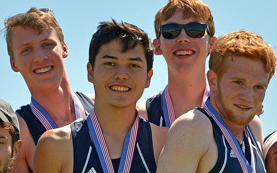 The Ramstein boys captured the 3,200-meter relay race at the DODEA-Europe track and field championships in Kaiserslautern, Germany, in 8:18.93. The team is, from left, Colin McLaren, Jose Serrano, John Casey and Nick Clinton.