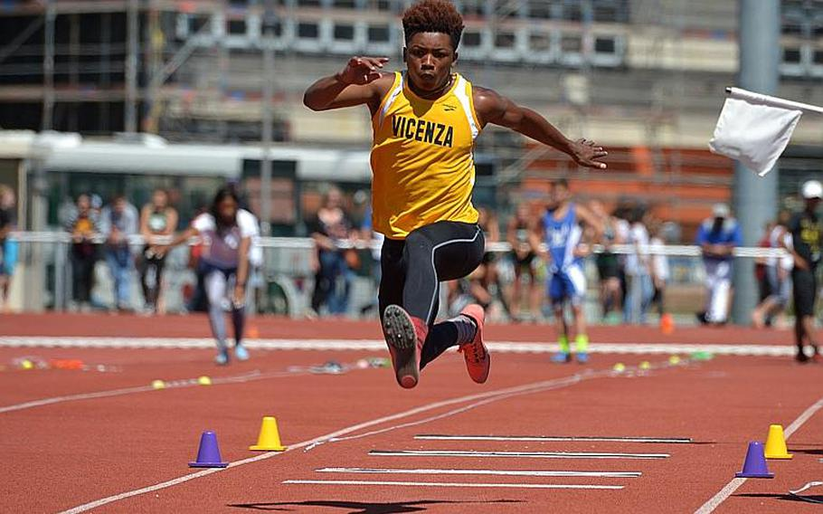 Vicenza's Brandrick Cullors won the boys triple jump with a leap of 42-01 1/2  at the DODEA-Europe track and field championships in Kaiserslautern, Germany