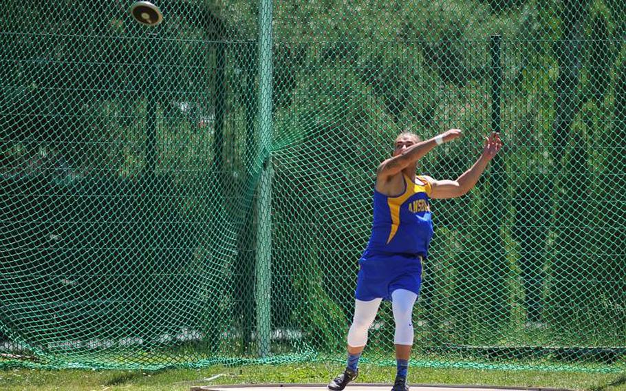 Ansbach's Josua Baughman took the boys discus title at the DODEA-Europe track and field championships in Kaiserslautern, Germany, with a toss of 124-09.