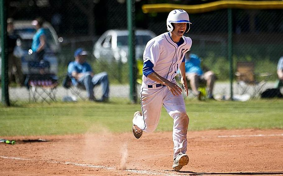 Wiesbaden's Damien Pinion runs to first during the DODEA-Europe baseball tournament in Kaiserslautern, Germany, on Friday, May 26, 2017. Wiesbaden won the Division I game against Kaiserslautern 11-7 and advances to the semifinals.  MICHAEL B. KELLER/STARS AND STRIPES