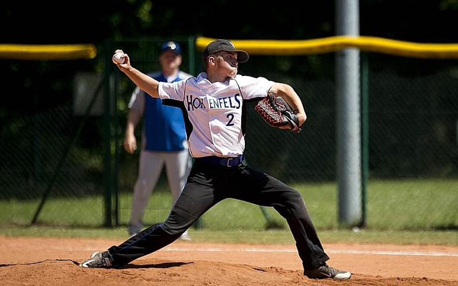 Hohenfels' Landon Ott throws a pitch during the DODEA-Europe baseball tournament in Kaiserslautern, Germany, on Friday, May 26, 2017. Hohenfels lost the Division II/III game to Sigonella 14-3.  MICHAEL B. KELLER/STARS AND STRIPES