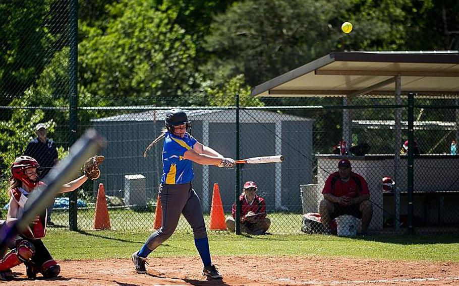 Wiesbaden's Melanie Hirschel-Weber hits the ball during the DODEA-Europe softball tournament at Ramstein Air Base, Germany, on Friday, May 26, 2017. Wiesbaden lost the Division I game against Kaiserslautern 10-5.  MICHAEL B. KELLER/STARS AND STRIPES