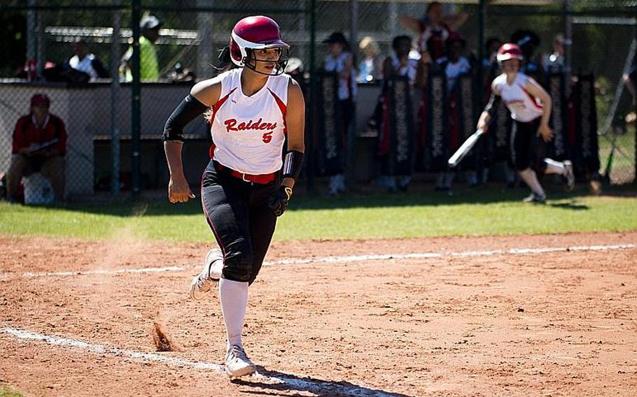 Kaiserslautern's Ally Alamos runs to first during the DODEA-Europe softball tournament at Ramstein Air Base, Germany, on Friday, May 26, 2017. Kaiserslautern won the Division I game against Wiesbaden 10-5.  MICHAEL B. KELLER/STARS AND STRIPES