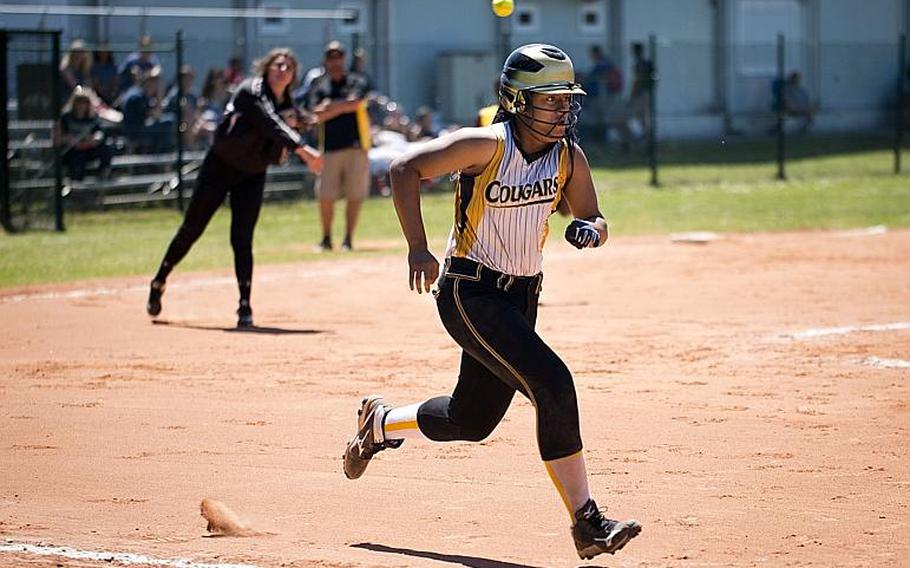 Vicenza's Beatrice Afoa-Galo runs to first during the DODEA-Europe softball tournament at Ramstein Air Base, Germany, on Friday, May 26, 2017. Vicenza lost the Division I game against Stuttgart 20-6.  MICHAEL B. KELLER/STARS AND STRIPES