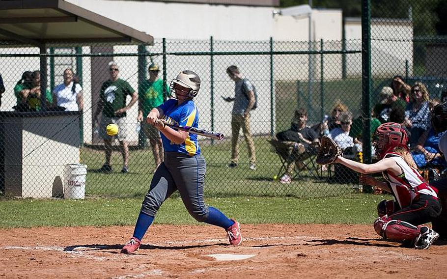 Wiesbaden's Rhianna McInnins hits the ball during the DODEA-Europe softball tournament at Ramstein Air Base, Germany, on Friday, May 26, 2017. Wiesbaden lost the game against Kaiserslautern 10-5.  MICHAEL B. KELLER/STARS AND STRIPES