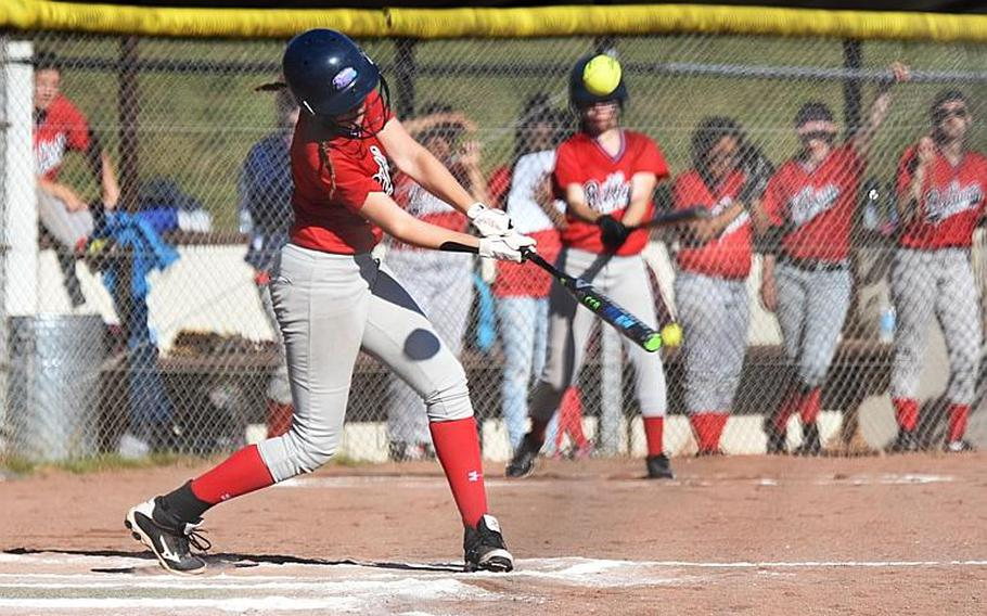 Bitburg's Kaitlyn Fleming hits the ball in a game against AFNORTH during the second day of the softball championships at Kaiserslautern, Friday, May 26.