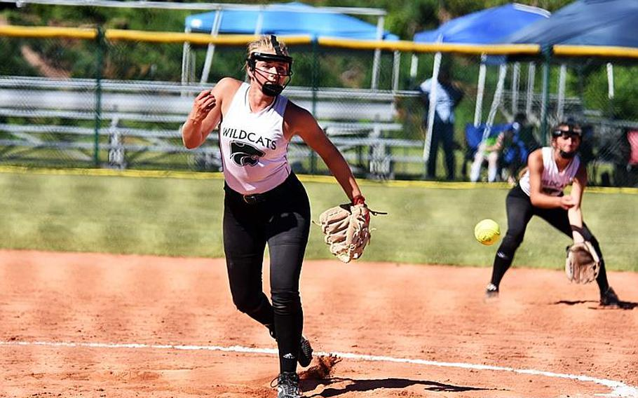 Naples' Anika Loverink pitches in a game against SHAPE during the second day of the softball championships at Kaiserslautern, Friday, May 26.