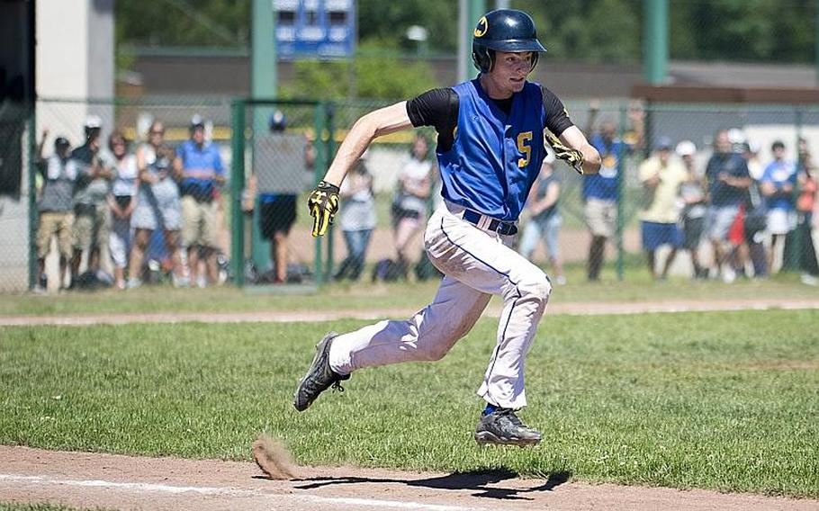 Sigonella's Alex Noack runs to first during the DODEA-Europe Division II/III baseball championship at Ramstein Air Base, Germany, on Saturday, May 27, 2017. Sigonella defeated Bitburg 10-1 to win the title.  MICHAEL B. KELLER/STARS AND STRIPES