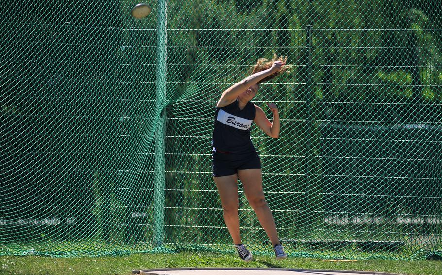 Bitburg's Elise Rasmussen tossed the discus 108 feet, 7 inches to take the gold at the DODEA-Europe track and field finals in Kaiserslautern, Germany, Saturday, May 27, 2017.