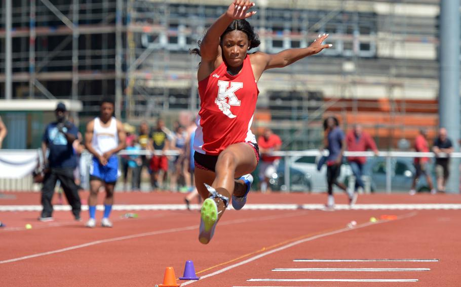 Kaiserslautern's Jada Branch set a new DODEA-Europe record in the triple jump with a leap of 39 feet, 2.25 inches at the DODEA-Europe track and field finals in Kaiserslautern, Germany, Saturday, May 27, 2017.