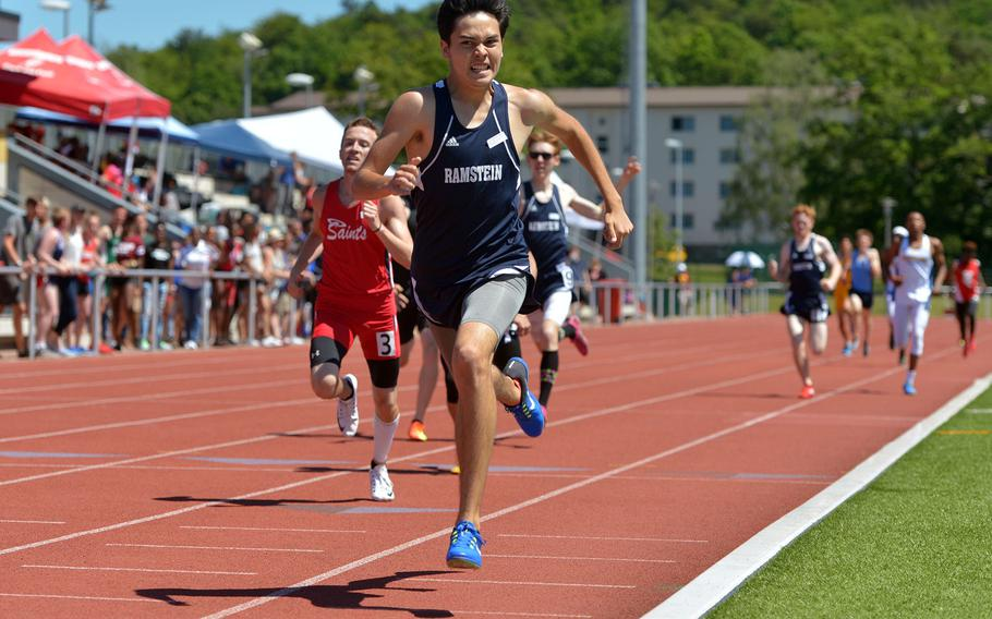 Ramstein's Jose Serrano on his way to winning the 800-meter race  in 2 minutes, 4.16 seconds at the DODEA-Europe track and field finals in Kaiserslautern, Germany, Saturday, May 27, 2017.