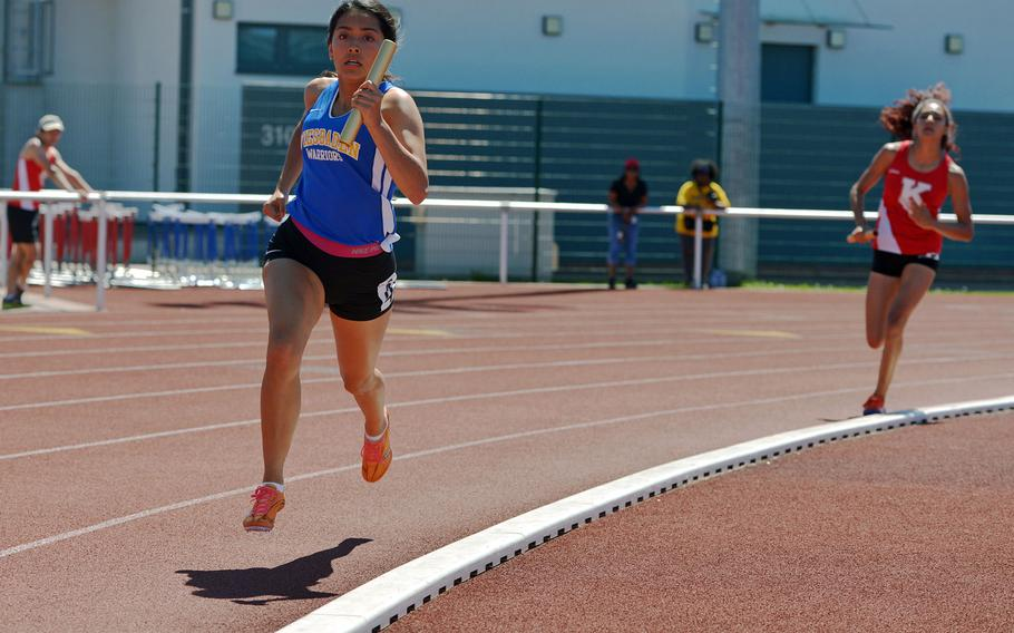 Wiesbaden's Clarissa Paniagua anchored her school's winning 4x400-meter relay at the DODEA-Europe track and field finals in Kaiserslautern, Germany, Saturday, May 27, 2017. She and teammates Chloe Edison, Catianna Binyard-Turner and Ta?Nya Thomas won in 4 minutes, 9.74 seconds.