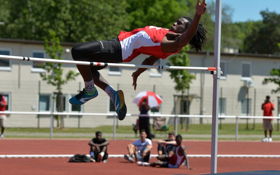 Kaiserslautern's Oliver Powdar took the high jump title at the DODEA-Europe track and field finals in Kaiserslautern, Germany, clearing 6 feet, 2 inches for the gold.