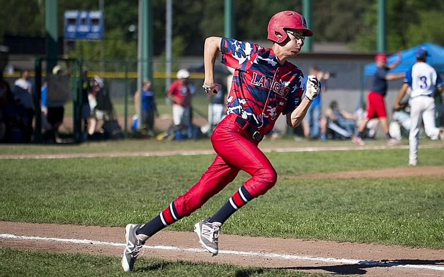 Lakenheath's Trevor Kelly runs to first during the DODEA-Europe Division I baseball championship at Ramstein Air Base, Germany, on Saturday, May 27, 2017. Lakenheath lost the game against Ramstein 8-6.  MICHAEL B. KELLER/STARS AND STRIPES