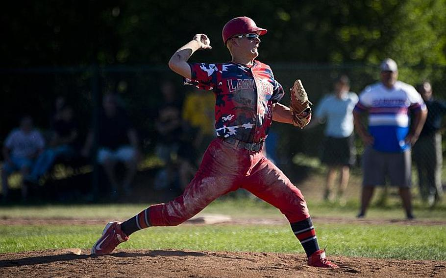 Lakenheath's Jaxon Tomchesson throws a pitch during the DODEA-Europe Division I baseball championship at Ramstein Air Base, Germany, on Saturday, May 27, 2017. Lakenheath lost the game against Ramstein 8-6.  MICHAEL B. KELLER/STARS AND STRIPES