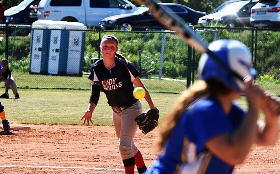 Bitburg pitcher, Alicia Paul, pitches during the championship game against Sigonella, at Ramstein, Germany, Saturday, May 27.