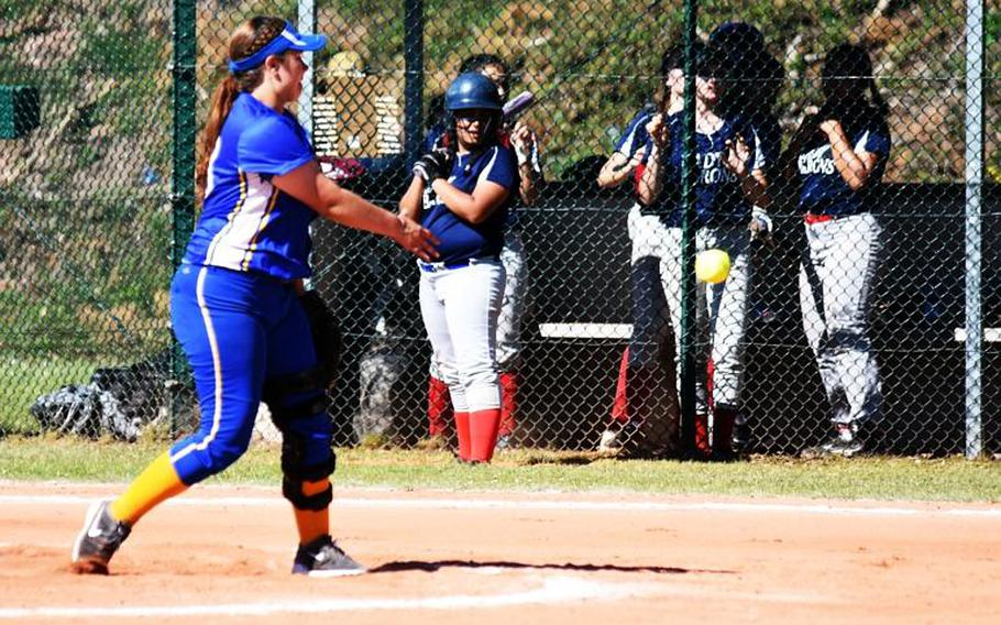 Sigonella's Hanna Barnes pitches during the championship game against Bitburg, in Ramstein Air Base, Germany, on Saturday, May 27.
