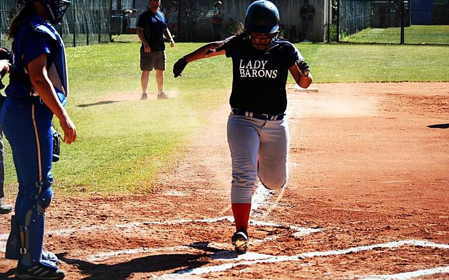 Bitburg's Gabrielle Rodriguez runs across home plate during the championship game against Sigonella at Ramstein Air Base, Germany on Saturday, May 27.
