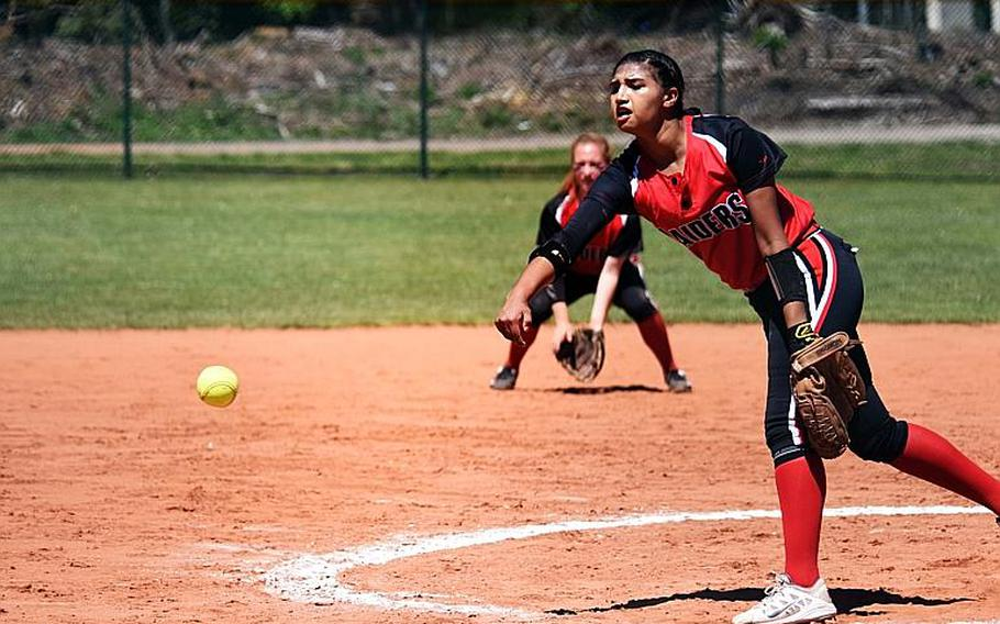 Kaiserslautern's Ally Alamos pitches during the semifinal game against Ramstein at Ramstein Air Base, Germany on Saturday, May 27.
