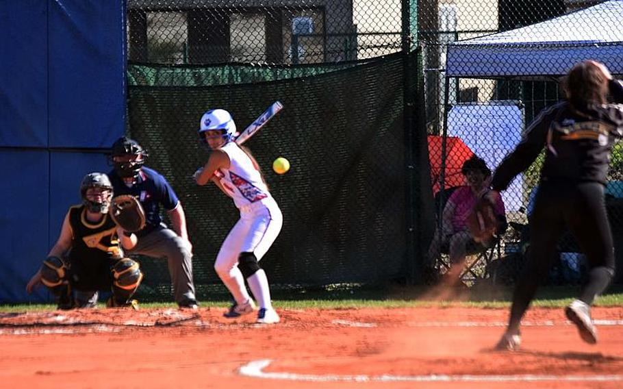 Stuttgart's Kira Wright pitches the ball to Ramstein's Delour Durbin during the championship game at Ramstein Air Base, Germany on Saturday, May 27.