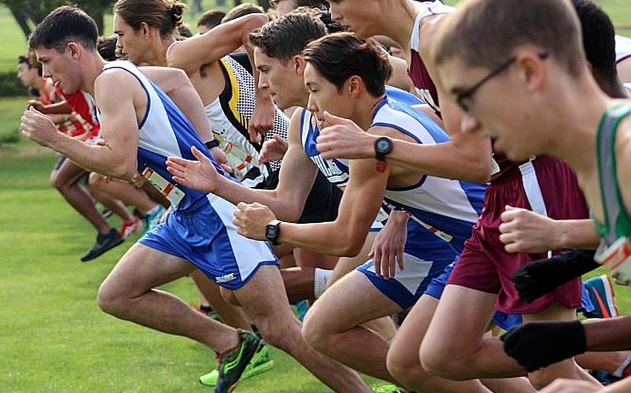 Seoul American senior and Far East cross country meet boys race winner Tucker Chase breaks off the start line with the pack to open Wednesday's race. He's the first Falcon to win the boys 3.12-mile individual race since Thomas Kim in 2009.