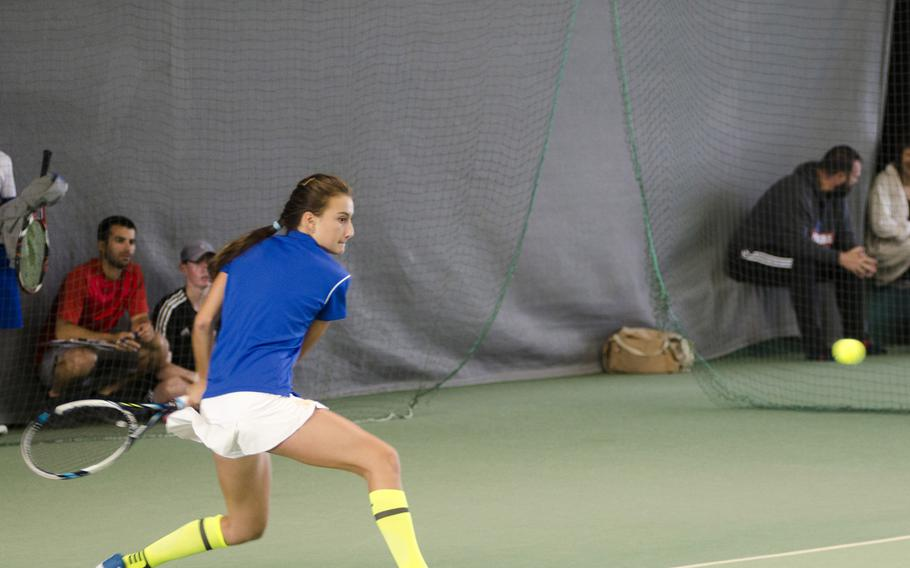 Wiesbaden's Charlotte Kordonowy of Wiesbaden returns a shot in a singles match against Kendall Smith of Stuttgart in Nordenstadt, Germany, Saturday, Sept. 23, 2017. Kordonowy, a freshman, looked composed in a 6-0, 6-1 victory against Smith, a senior and semifinalist in last year's DODEA European championships. Both will be competing in this year's finals that get underway Thursday.