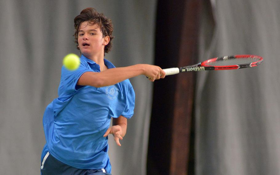 Marymount's Mathias Mingazzini returns a shot from Florence's Francesco Londono in the boys final at last year's DODEA-Europe tennis championships in Wiesbaden, Germany. Mingazzini took the title with a 6-1, 6-4 win. He will be out to defend his title when the 2017 finals get underway Thursday.