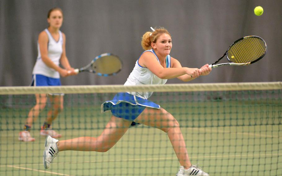 Ramstein's Amanda Daly returns a shot against ISB in the doubles final at the DODEA-Europe tennis championships in Wiesbaden, Germany, Saturday Oct. 29, 2016. Daly and teammate Sophie Tomatz took the title. Daly will be back at this year's finals, teaming up with Megan Stretch.