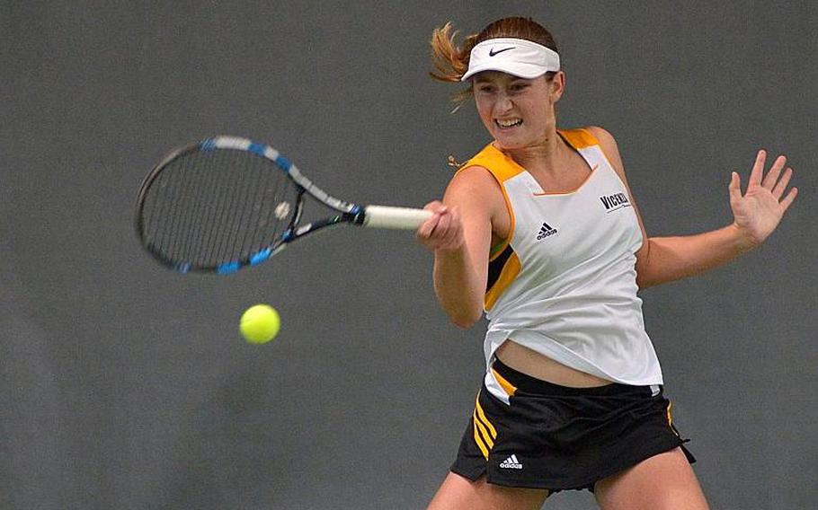 Vicenza's Catherine Gulihur uses her forehand to slam the ball back over the net in the girls singles final at the DODEA-Europe tennis championships in Wiesbaden, Germany, Saturday, Oct. 28, 2017. Gulihur took the title with a 6-2, 6-0 win over Wiesbaden's Charlotte Kordonowy.