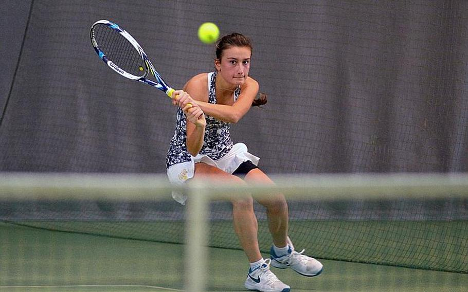 Wiesbaden's Charlotte Kordonowy watches her shot sail over the net in her 6-2, 6-0 loss to Vicenza's Catherine Gulihur at the DODEA-Europe tennis championships in Wiesbaden, Germany, Saturday, Oct. 28, 2017.