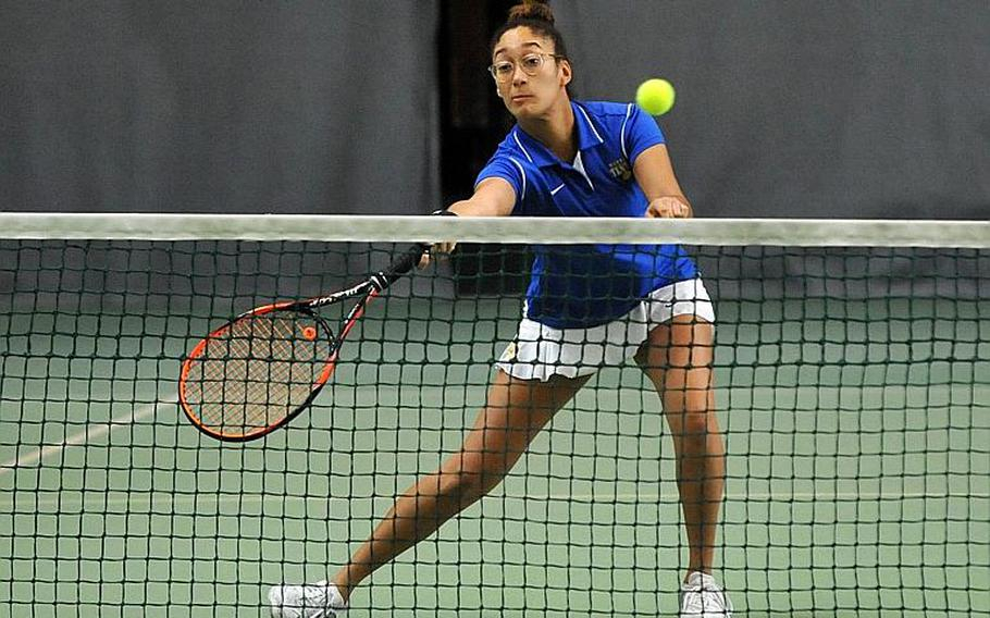 Mellisa Pritchett makes a play at the net in the girls doubles final at the DODEA-Europe tennis championships in Wiesbaden, Germany, Saturday, Oct. 28, 2017. She and teammate Shelby Albers lost to Ramstein's Amanda Daly and Morgan Stretch 6-1, 6-2.