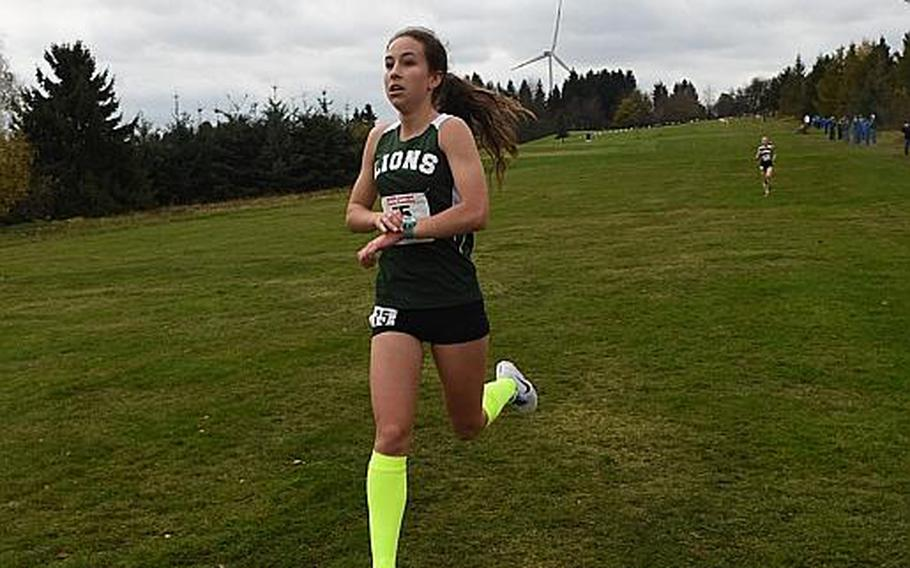 St. John's senior Kayla Smith won her third consecutive title on Saturday, Oct. 28, 2017, at the DODEA European cross country championships in Baumholder, Germany. Smith ran 19:15.85 to beat teammate Abby Michalec by 5 seconds.