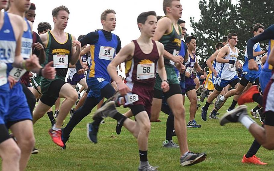A pack of runners sprints by at the start of the DODEA European cross country championships on Oct. 28, 2017, in Baumholder, Germany. Cold temperatures and gusting winds made for challenging race conditions.