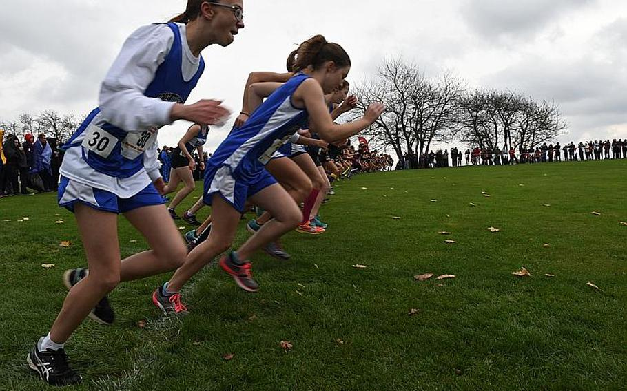 Runners prepare for the start of the girls' race at the DODEA European cross country championships on Oct. 28, 2017, in Baumholder, Germany.