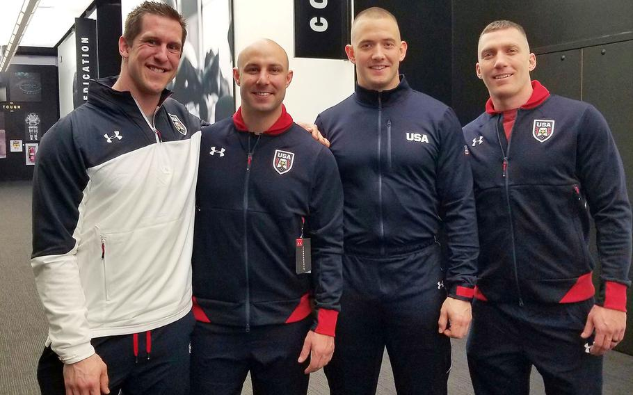 From left to right, Sgt. 1st Class Nate Weber, Sgt. Nick Cunningham, Sgt. Justin Olsen and Cpt. Chris Fogt are part of the Army's World Class Athlete Program and will compete in the upcoming Winter Games in Pyeongchang, South Korea.
