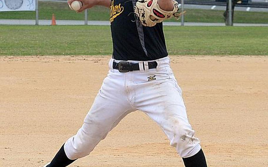 Sophomore Jared Duenas is one of two main pitching options for Kadena, hoping to finally win a Far East Division I Tournament title after just missing in six finals appearances.