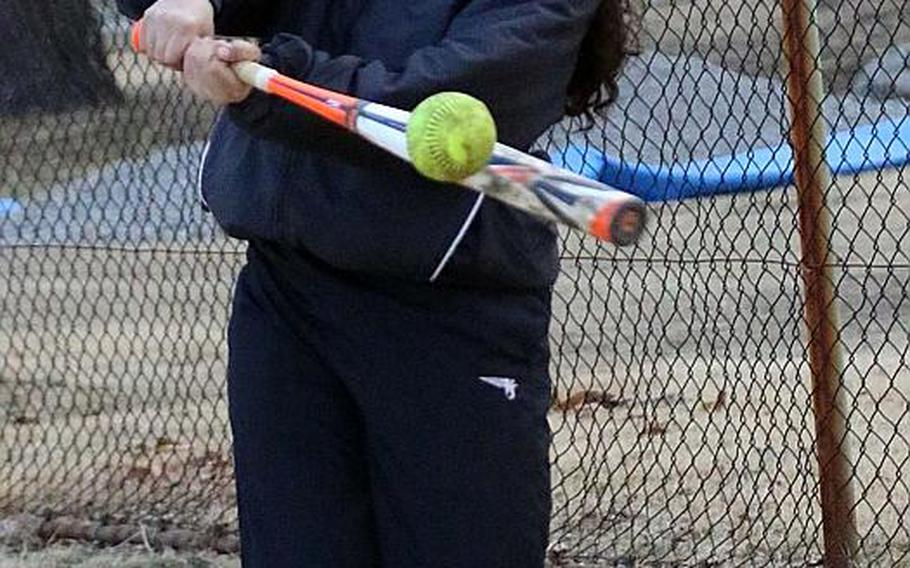 Junior left-handed batter Litzie Figueroa is one of several strong batters in a heavy-hitting Zama softball lineup.