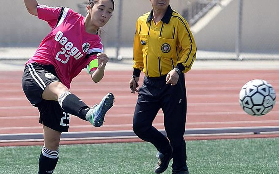 Ashley Clifton played for Daegu as a sophomore and Seoul American as a freshman; she's back in Falcons Navy blue and white for her junior season.
