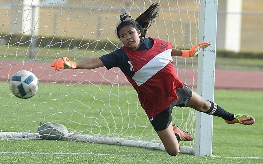 Junior Korina Macato is one of two goalkeeping options for Kadena.