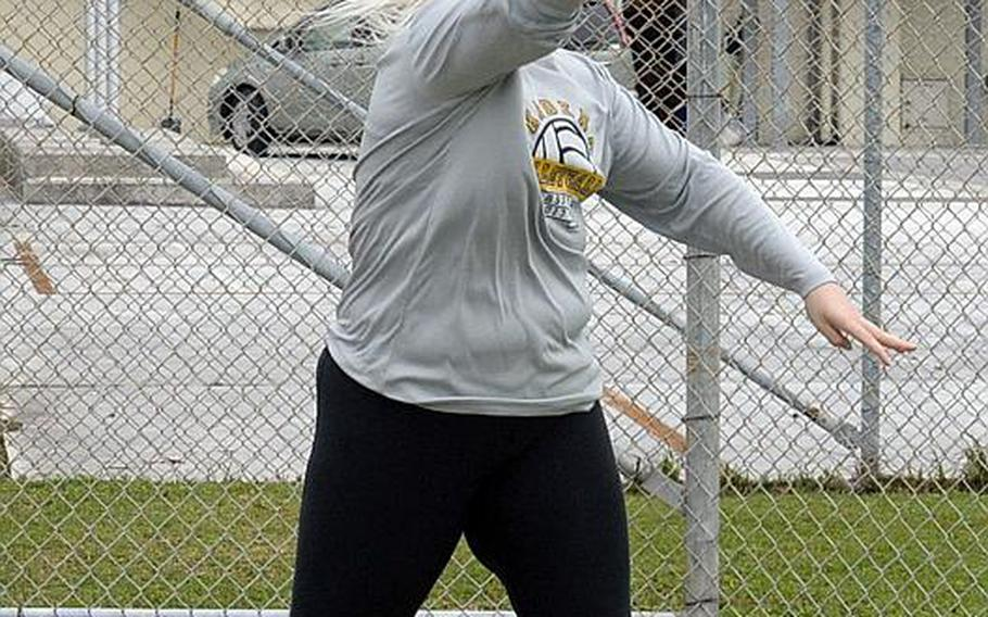 Senior Lauren Erp returns to track and field to throw discus and shot put after a season of playing softball for Kadena.