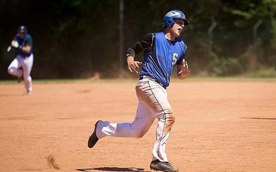 Sigonella's Alex Ogletree runs past third to home during the DODEA-Europe baseball tournament in Kaiserslautern, Germany, on Friday, May 26, 2017.