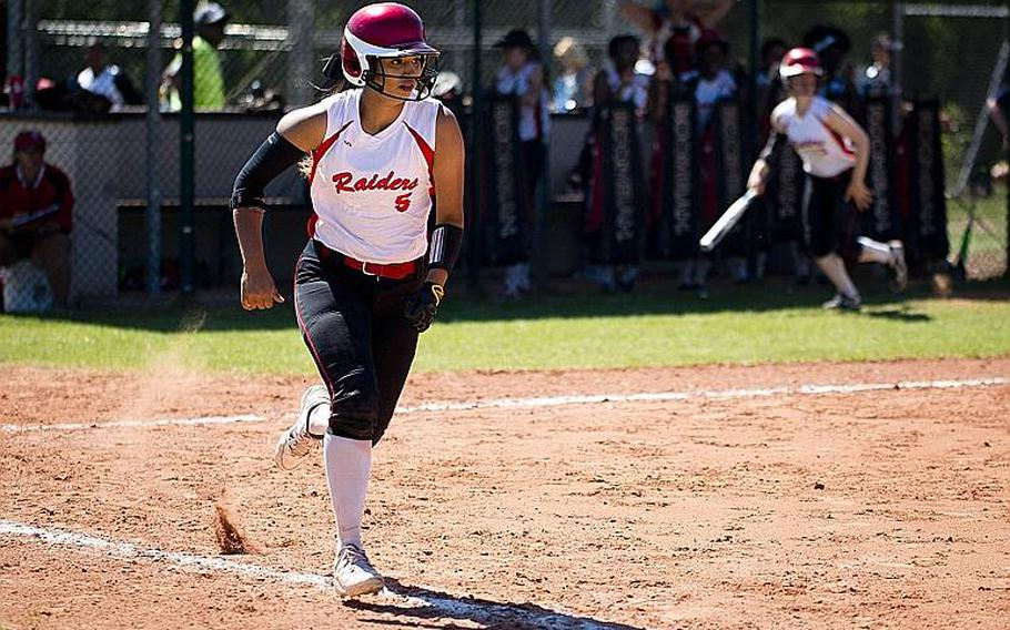 Kaiserslautern's Ally Alamos runs to first during the DODEA-Europe softball tournament at Ramstein Air Base, Germany, on Friday, May 26, 2017.